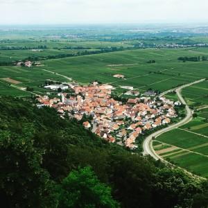 Eschbach/Pfalz von der Madenburg aus gesehen.
