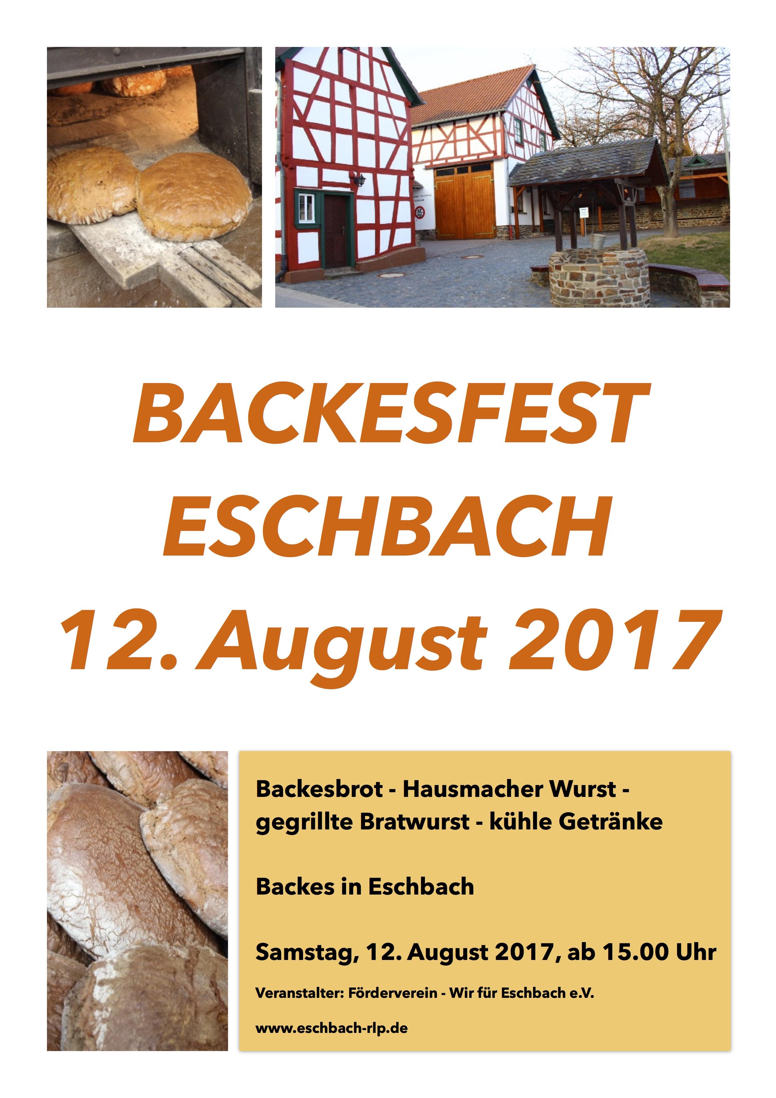 backesfest 2017 – herzliche einladung – eschbach, Einladung